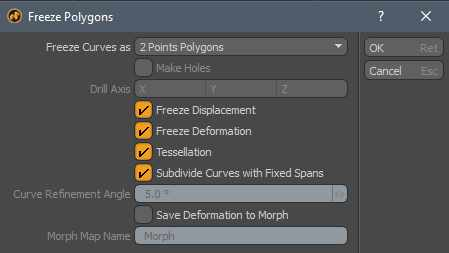 Freeze Polygons Modo