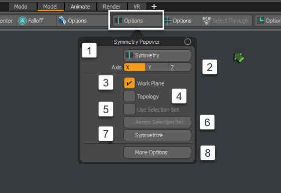 Опции симметрии Modo