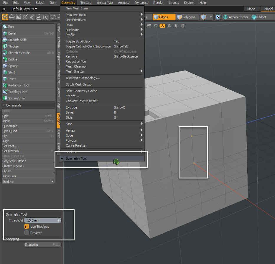 Symmetry Tool Modo