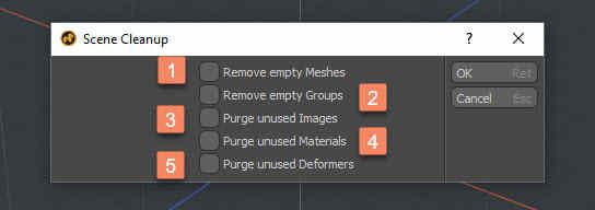 Использование функции Scene CleanUp