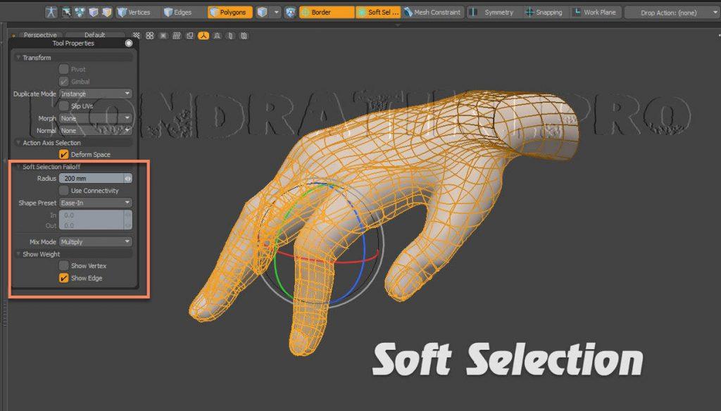 Soft Selection Falloff Modo