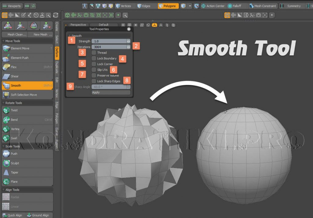 Smooth Tool Modo