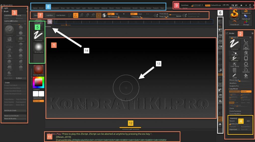 Интерфейс ZBrush Interface